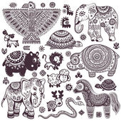 Vintage set of isolated ethnic animals and symbols — Stock Vector