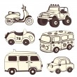 Постер, плакат: Retro cars icons set
