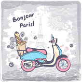 Vintage vector Paris postcard illustration — Vetorial Stock