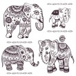 Set of hand drawn ethnic elephants — Stock Vector
