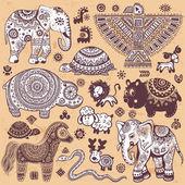 Vintage set of ethnic animals — Stock Vector