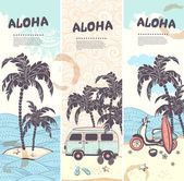 Vintage summer and travel banners — Stock Vector
