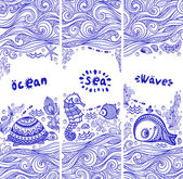 Vector set of banners with fish and shells — Stock Vector