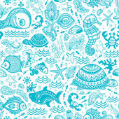 Vector set of fish and shells — Vector de stock