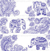 Vintage set of banners with ethnic elephants — Stock Vector
