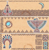 Vintage set of native American banners — Stock Vector