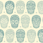 Vintage ethnic hand drawn human skull seamless — Stock Vector