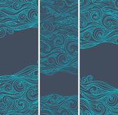 Vintage set of banners with ethnic waves — Stok Vektör