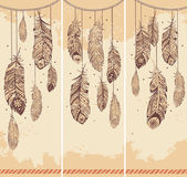 Set of banners with Ehnic feathers — Vecteur