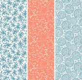 Set of coral and sea star seamless — Vector de stock