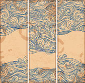 Vintage set of banners with ethnic waves — Vector de stock