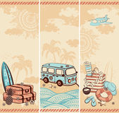 Vintage summer and travel banners — Vector de stock