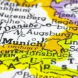 Close up of Munich on map, Germany - Stock Photo