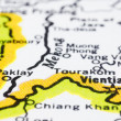 Stock Photo: Close up of Vientiane on map, Laos.