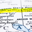 Close up of siem reap on map, cambodia — Stock Photo