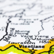 Stock Photo: Close up of vientiane on map, Laos