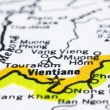 Close up of vientiane on map, Laos — Stock Photo