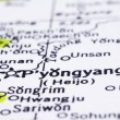 Close up of Pyongyang on map, North Korea — Stock Photo #18568339
