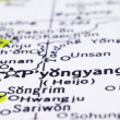 Close up of Pyongyang on map, North Korea — Stock Photo