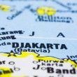 Close up of Jakarta on map, indonesia - Stock Photo