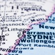 Close up of Sydney on map, Australia - Stock Photo