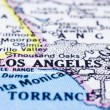 Close up of Los Angeles on map, united states - Stock Photo