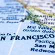 Close up of San Francisco on map, united states - Stock Photo