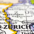 Close up of Zurich on map, Switzerland — Stock Photo