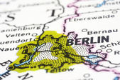 Close up of Berlin on map, Germany — Stock Photo