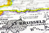 Close up of brussels on map, beligium — Stock Photo