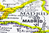 Close up of madrid on map, Spain — Stock Photo