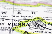 Close up of Vienna on map, Austria — Stock Photo