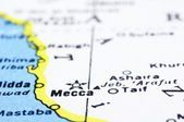 Close up of Mecca on map, Saudi Arabia — Stock Photo