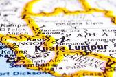 Zblízka kuala lumpur na mapu, malajsie — Stock fotografie