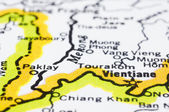 Close up of Vientiane on map, Laos. — Stock Photo