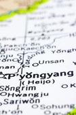 Närbild på pyongyang på karta, nordkorea — Stockfoto
