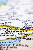 Close up of Ottawa on map, Canada — Stock Photo
