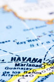 Close up of havana on map, Cuba — Stock Photo