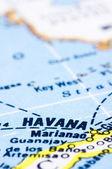 Close up of havana on map, Cuba — Stock Photo