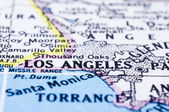 Close up of Los Angeles on map, united states — Stock Photo