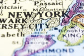 Close up of new york on map, united states — Stock Photo