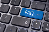 Faq concepts, messages on keyboard enter key — Stock Photo