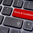 Message on keyboard, for terms and conditions concepts. — Stock Photo