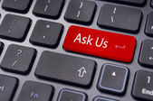 Message on keyboard, ask us concepts — Stock Photo