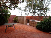 Red Brick Patio with BBQ Pits — Stock Photo