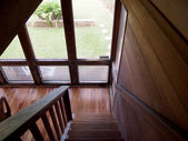 Wood Staircase leading downstairs — Stock Photo