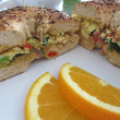 Stock Photo: Veggie omelette sandwich with orange slices