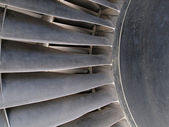Close up of turbine and blades of a jet engine — Stock Photo