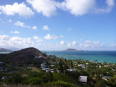 Lanikai and Kailua Bay from top mountain on O'ahu, Hawai'i — Stock Photo