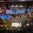 Постер, плакат: Wrestlers fight on top turnbuckle during Elimination Chamber mat